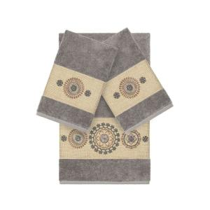 リナムホームテキスタイル Linum Home ユニセックス タオル Isabelle 3-Pc. Embroidered Turkish Cotton Bath and Hand Towel Set Dark Grey|fermart-shoes