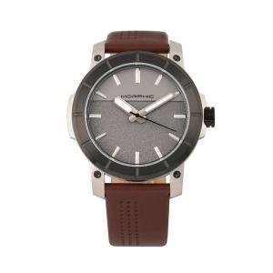 モルフィック Morphic メンズ 腕時計 M54 Series Leather-Band Chronograph Watch - Silver/Brown Brown|fermart-shoes