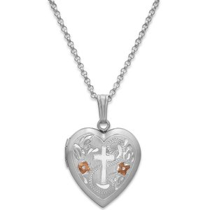 メイシーズ Macy's レディース ネックレス ジュエリー・アクセサリー Painted Cross Heart Locket Necklace in Sterling Silver Silver|fermart-shoes