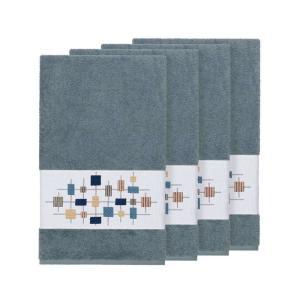 リナムホームテキスタイル Linum Home ユニセックス タオル Khloe 4-Pc. Embroidered Turkish Cotton Bath Towel Set Teal|fermart-shoes