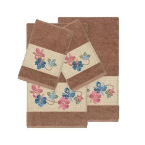 リナムホームテキスタイル Linum Home ユニセックス タオル Caroline 4-Pc. Embroidered Turkish Cotton Bath and Hand Towel Set Latte|fermart-shoes