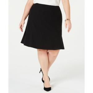 バースリー Bar III レディース スカート Plus Size Ruffle-Hem Skirt Black|fermart-shoes