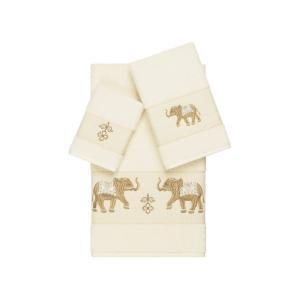 リナムホームテキスタイル Linum Home ユニセックス タオル Quinn 3-Pc. Embroidered Turkish Cotton Towel Set Cream|fermart-shoes