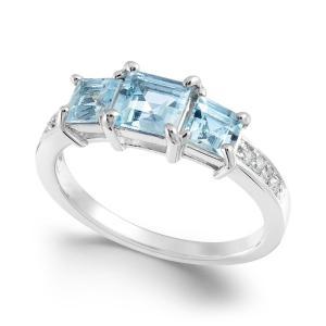 メイシーズ Macy's ユニセックス 指輪・リング ジュエリー・アクセサリー Aquamarine (1-1/3 ct. t.w.) & Diamond Accent Statement Ring in 14k White Gold|fermart-shoes