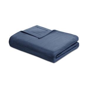 マディソンパーク Madison Park ユニセックス 雑貨 Freshspun Cotton Basketweave King Blanket Navy|fermart-shoes