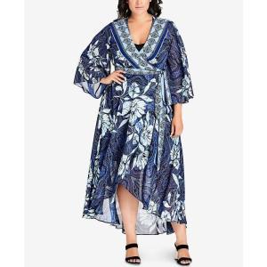 シティーシック City Chic レディース ワンピース ワンピース・ドレス Trendy Plus Size Kimono Maxi Dress Blue Illusion fermart-shoes