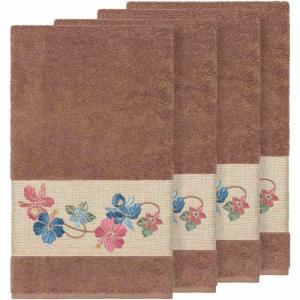 リナムホームテキスタイル Linum Home ユニセックス タオル Caroline 4-Pc. Embroidered Turkish Cotton Bath Towel Set Latte|fermart-shoes