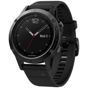 ガーミン Garmin メンズ 腕時計 fenix 5 Multisport Black Silicone Band Smart Watch 47mm Black|fermart-shoes