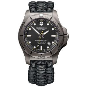 ビクトリノックス Victorinox Swiss Army メンズ 腕時計 Swiss I.N.O.X. Professional Diver Black Paracord Strap Watch 45mm Black|fermart-shoes