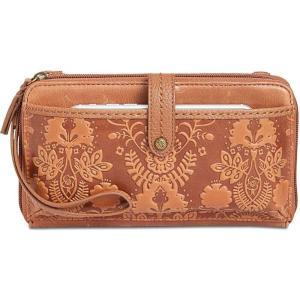 ザ サク The Sak レディース スマホケース Iris Smartphone Crossbody Wallet Tobacco Floral/Gold|fermart-shoes