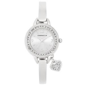 チャータークラブ Charter Club レディース 腕時計 Heart Charm Silver-Tone Bangle Bracelet Watch 26mm Silver|fermart-shoes