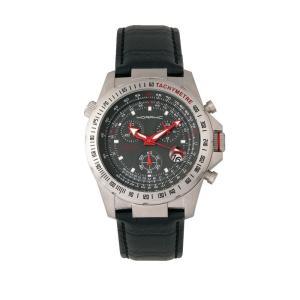 モルフィック Morphic メンズ 腕時計 M36 Series Leather-Band Chronograph Watch - Silver/Charcoal Black|fermart-shoes