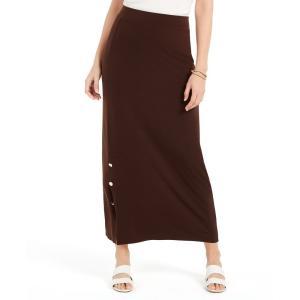 ジェイエムコレクション JM Collection レディース スカート Petite Buttoned-Slit Skirt Espresso Roast|fermart-shoes