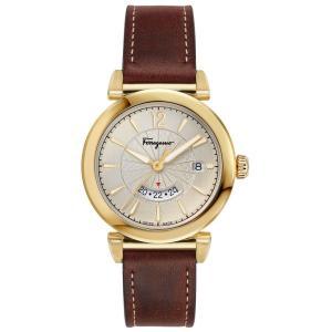 フェラガモ Ferragamo メンズ 腕時計 Swiss Feroni Brown Leather Strap Watch 40mm Silver|fermart-shoes
