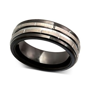 メイシーズ Macy's メンズ 指輪・リング ジュエリー・アクセサリー Tungsten Ring, Black Ceramic Tungsten Design Ring No Color|fermart-shoes