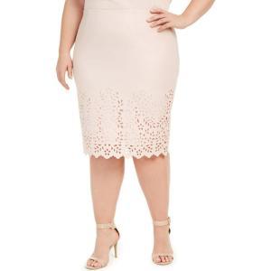 ナインウエスト Nine West レディース ひざ丈スカート ペンシルスカート 大きいサイズ スカート Plus Size Laser Cut Pencil Skirt Pale Blush|fermart-shoes