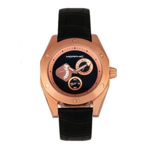 モルフィック Morphic メンズ 腕時計 M46 Series Leather-Band Watch w/Date - Rose Gold/Black Black|fermart-shoes