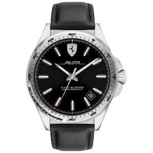 フェラーリ Ferrari メンズ 腕時計 Pilota Black Leather Strap Watch 42mm No Color|fermart-shoes