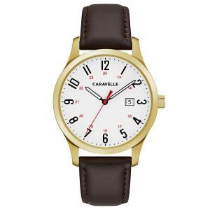 カラベル Caravelle メンズ 腕時計 Brown Leather Strap Watch 40mm No Color|fermart-shoes