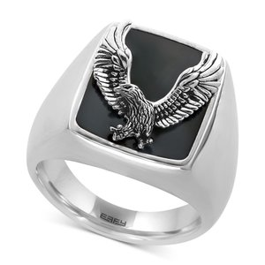 エフィー EFFY Collection メンズ 指輪・リング ジュエリー・アクセサリー EFFY Onyx (16-3/4 x 13-1/2mm) Eagle Ring in Sterling Silver Silver|fermart-shoes