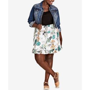 シティーシック City Chic レディース スカート Trendy Plus Size Ruffled Jungle-Print Skirt Jungle fermart-shoes