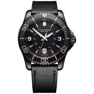 ビクトリノックス Victorinox Swiss Army メンズ 腕時計 Swiss Maverick Black Leather Strap Watch 43mm Black|fermart-shoes