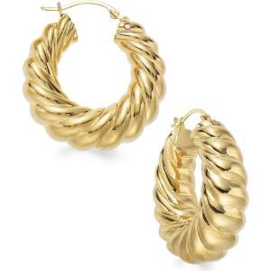 イタリアン ゴールド Italian Gold レディース イヤリング・ピアス ジュエリー・アクセサリー Signature Gold Ribbed Hoop Earrings in 14k Gold over Resin|fermart-shoes