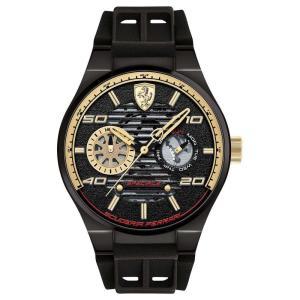 フェラーリ Ferrari メンズ 腕時計 Speciale Multi Black Silicone Strap Watch 44mm Black|fermart-shoes