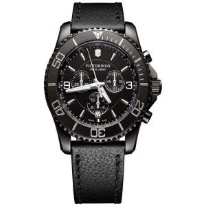 ビクトリノックス Victorinox Swiss Army メンズ 腕時計 Swiss Chronograph Maverick Black Leather Strap Watch 43mm Black|fermart-shoes