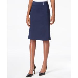 ジェイエムコレクション JM Collection レディース ひざ丈スカート スカート Rivet-Waist A-Line Skirt Intrepid Blue fermart-shoes
