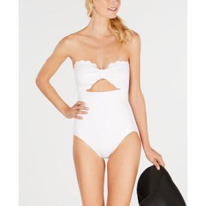ケイト スペード kate spade new york レディース ワンピース 水着・ビーチウェア Scalloped-Bandeau One-Piece Swimsuit White fermart-shoes