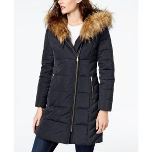 コールハーン Cole Haan レディース ダウンジャケット アウター Signature Faux-Fur-Trim Asymmetrical Puffer Coat Navy|fermart-shoes