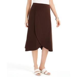 ジェイエムコレクション JM Collection レディース スカート Solid Tulip-Hem Skirt's Espresso Roast|fermart-shoes