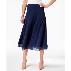 ジェイエムコレクション JM Collection レディース ひざ丈スカート スカート Mesh-Hem A-Line Skirt Intrepid Blue fermart-shoes