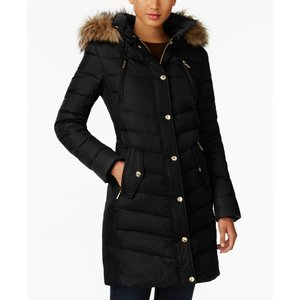 マイケル コース Michael Kors レディース ダウン・中綿ジャケット アウター Faux-Fur-Trim Hooded Puffer Coat Black|fermart-shoes