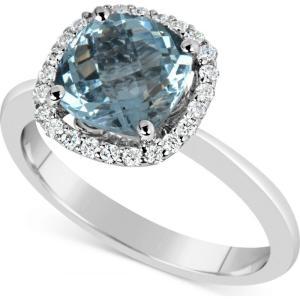 メイシーズ Macy's ユニセックス 指輪・リング ジュエリー・アクセサリー Aquamarine (2-1/4 ct. t.w.) and Diamond (1/5 ct. t.w.) Ring in 14k White Gold|fermart-shoes