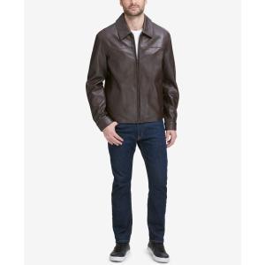 コールハーン Cole Haan メンズ レザージャケット アウター Full-Zip Leather Bomber Jacket Java Brown|fermart-shoes