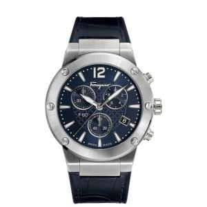 フェラガモ Ferragamo メンズ 腕時計 Swiss Chronograph F-80 Blue Leather & Black Caoutchouc Strap Watch 44mm Blue fermart-shoes