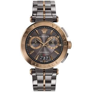 ヴェルサーチ Versace メンズ 腕時計 Swiss Chronograph Aion Two-Tone Stainless Steel Bracelet Watch 45mm Grey|fermart-shoes