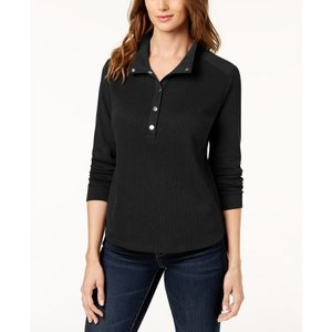カレンスコット Karen Scott レディース トップス Petite Wing-Collar Pullover Top Deep Black|fermart-shoes