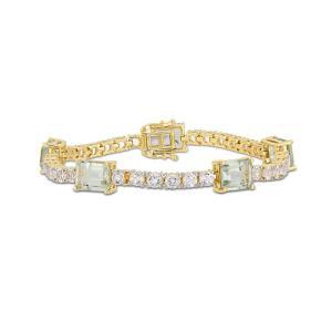 メイシーズ Macy's レディース ブレスレット Prasiolite (16 ct. t.w.) and White Topaz (9 ct.t.w.) Station Link Bracelet in 18k Gold over Sterling Silver|fermart-shoes