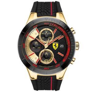 フェラーリ Ferrari メンズ 腕時計 Red Rev Evo Chronograph Black Silicone Strap Watch 46mm Black|fermart-shoes