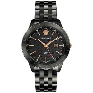ヴェルサーチ Versace メンズ 腕時計 Swiss Business Slim Black Stainless Steel Bracelet Watch 43mm Black|fermart-shoes