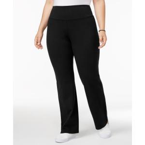 スタイル&コー Style & Co レディース ボトムス・パンツ ヨガ・ピラティス Plus Size Tummy-Control Bootcut Yoga Pants Deep Black|fermart-shoes