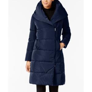 コールハーン Cole Haan レディース ダウンジャケット アウター Signature Asymmetrical Pillow-Collar Puffer Coat Navy|fermart-shoes
