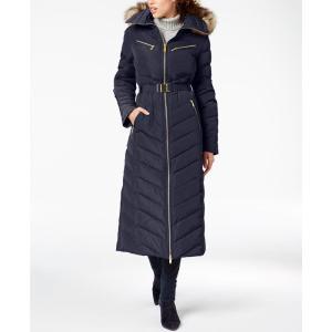 マイケル コース Michael Kors レディース ダウン・中綿ジャケット アウター Faux-Fur-Trim Belted Puffer Coat Navy|fermart-shoes
