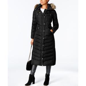 マイケル コース Michael Kors レディース ダウン・中綿ジャケット アウター Faux-Fur-Trim Maxi Puffer Coat Black|fermart-shoes