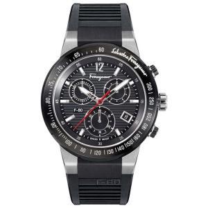フェラガモ Ferragamo メンズ 腕時計 Chronograph Swiss F-80 Black Caoutchouc Rubber Strap Watch 44mm Black|fermart-shoes
