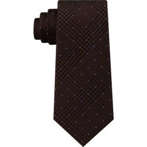 マイケル コース Michael Kors メンズ ネクタイ Dotted Glen-Check Silk Tie Brown fermart-shoes