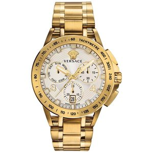 ヴェルサーチ Versace メンズ 腕時計 Swiss Chronograph Sport Tech Gold Ion-Plated Stainless Steel Bracelet Watch 45mm Silver|fermart-shoes